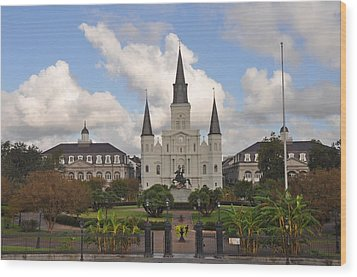 Jackson Square New Orleans Wood Print by Bill Cannon