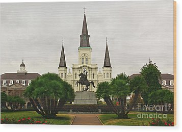 Jackson Square Wood Print by Perry Webster