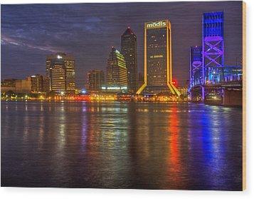 Jacksonville At Night Wood Print by Debra and Dave Vanderlaan