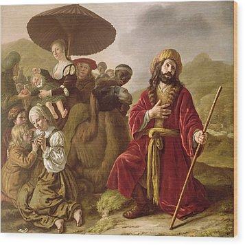Jacob Seeking Forgiveness Of Esau Wood Print by Jan Victoors
