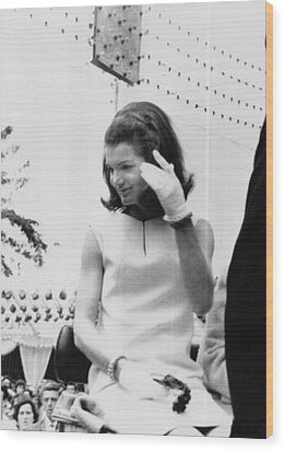 Jacqueline Kennedy, Riding In An Open Wood Print by Everett