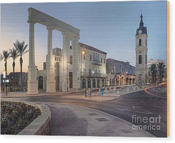 Jaffa Clock Tower Wood Print by Noam Armonn