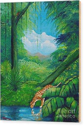 Jaguar Drinking Water Wood Print