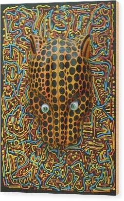 Jaguarhead Wood Print by Douglas Fromm