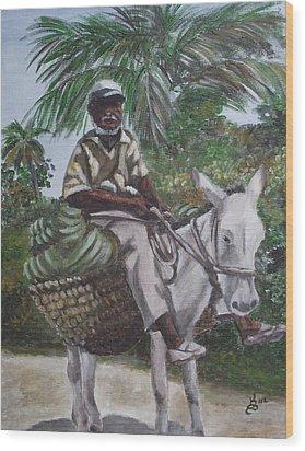 Jamaican Donkey Power Wood Print by Kim Selig