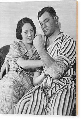 James Braddock Shows Off To Wife May Wood Print by Everett