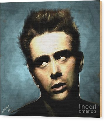 James Dean Wood Print by Arne Hansen