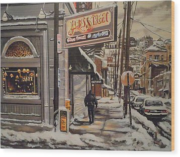 Wood Print featuring the painting James Street Restaurant  by James Guentner