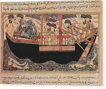 Jami Al-tawarikh, Noah And His Sons Wood Print by Photo Researchers