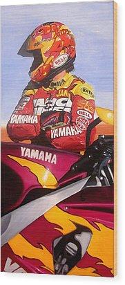 Jamie James - Yamaha Yzf Wood Print by Jeff Taylor