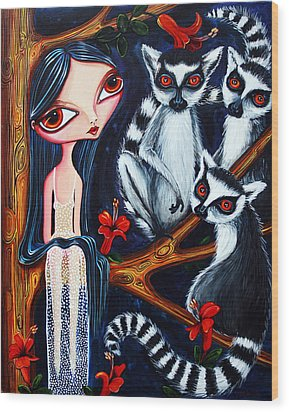 Jane And The Lemurs Wood Print by Leanne Wilkes