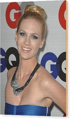 January Jones At Arrivals Wood Print by Everett