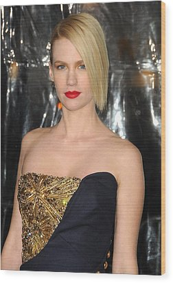 January Jones At Arrivals For Unknown Wood Print by Everett