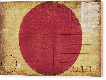 Japan Flag Postcard Wood Print by Setsiri Silapasuwanchai
