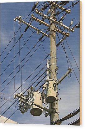 Japan Power Utility Pole Wood Print by Daniel Hagerman