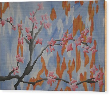 Japanese Cherry Blossoms Wood Print by Joanna Leack