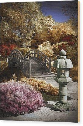 Japanese Foot Bridge Wood Print by Patrick Pope