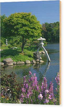 Japanese Garden Wood Print by Cindy Haggerty