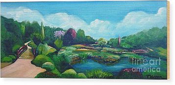 Wood Print featuring the painting Japanese Gardens - Donated As A Raffle Prize July 2016 by Therese Alcorn