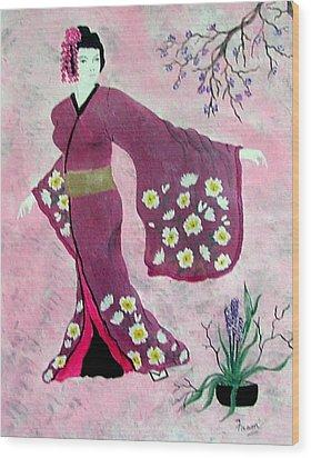 Japanese Lady Wood Print by Fram Cama