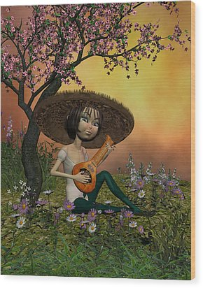 Japanese Musical Morning In The Garden Wood Print by John Junek