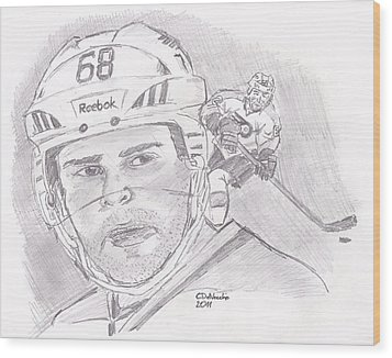 Wood Print featuring the drawing Jaromir Jagr by Chris  DelVecchio