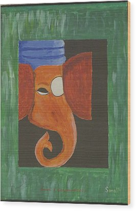 Wood Print featuring the painting Jay Ganesh by Sonali Gangane