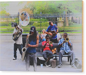 Jazz Band At Jackson Square Wood Print by Bill Cannon