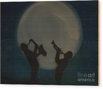Jazzing At The Moon Wood Print by Damion Powell