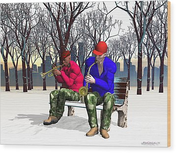 Jazzmas In The Park 1 Wood Print by Walter Oliver Neal