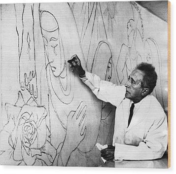 Jean Cocteau Works On A Mural Wood Print by Everett