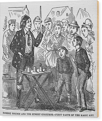 Jean Eugene Robert Houdin (1805-1871). French Magician. Wood Engraving, C1880, From An American Edition Of Houdins Autobiography, Depicting His First Childhood Encounter With A Street Magician Wood Print by Granger