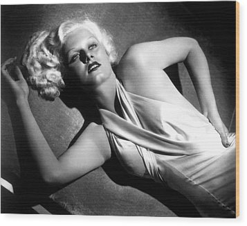 Jean Harlow, Fashion Still For Dinner Wood Print by Everett