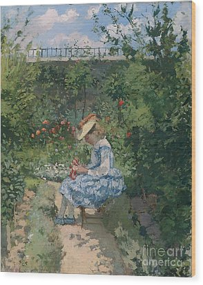 Jeanne In The Garden Wood Print by Camille Pissarro