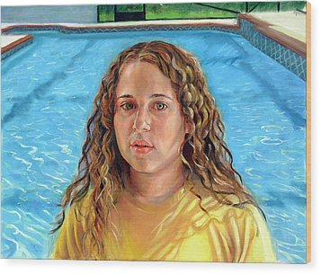 Wood Print featuring the painting Jeannie At The Pool by Nancy Tilles