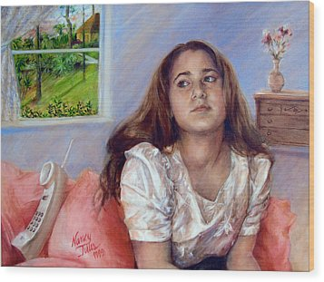 Wood Print featuring the painting Jeannie Waiting For A Call by Nancy Tilles