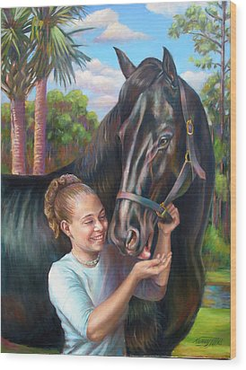 Wood Print featuring the painting Jeannie With Seiba's Gentle Touch by Nancy Tilles