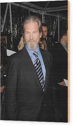 Jeff Bridges At Arrivals For Crazy Wood Print by Everett