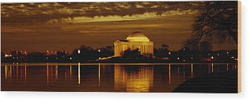 Jefferson Memorial - Panoramic Wood Print by David Hahn