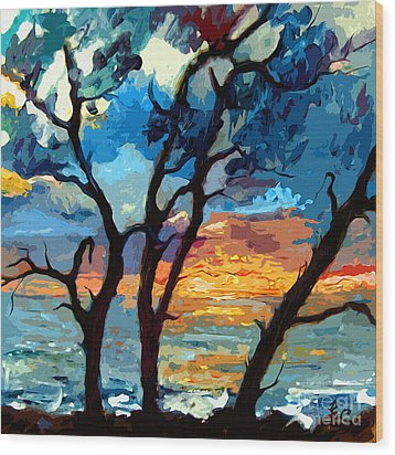 Jekyll Island Sunrise Painting Wood Print