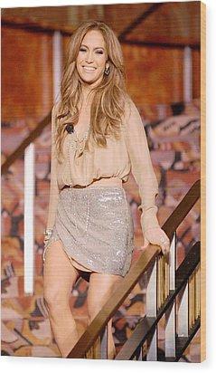 Jennifer Lopez Wearing A Haute Hippie Wood Print by Everett