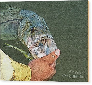 Jerkbait Snook Wood Print by Alex Suescun