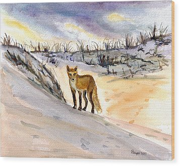 Wood Print featuring the painting Jersey Shore Fox by Clara Sue Beym