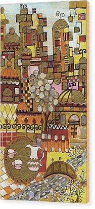 Jerusalem Alleys Tall 5  In Red Yellow Brown Orange Green And White Abstract Skyline Landscape   Wood Print by Rachel Hershkovitz