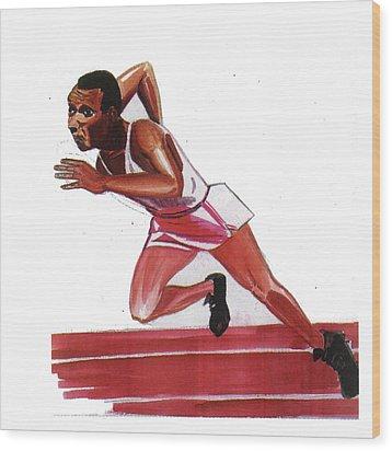 Jesse Owens Wood Print by Emmanuel Baliyanga