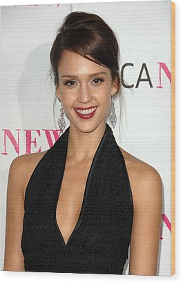 Jessica Alba At Arrivals For Moca 30th Wood Print
