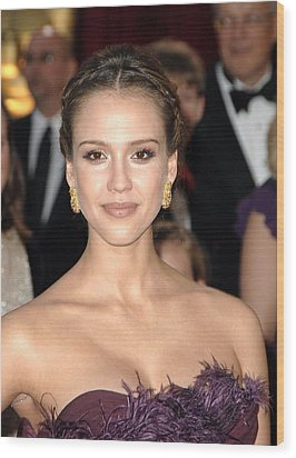 Jessica Alba Wearing Cartier Earrings Wood Print
