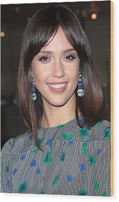 Jessica Alba Wearing Vintage Earrings Wood Print