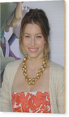 Jessica Biel At Arrivals For Planet 51 Wood Print by Everett