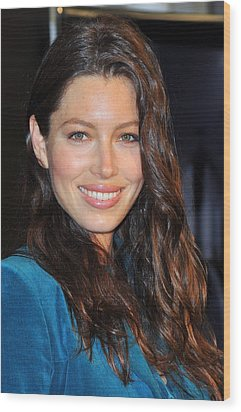 Jessica Biel At In-store Appearance Wood Print by Everett
